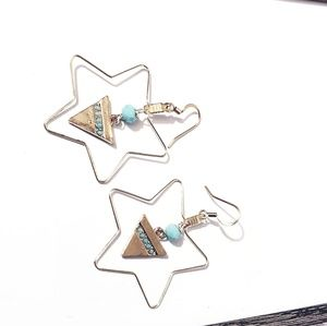 Jewelry - Boho chic star earrings gold plated